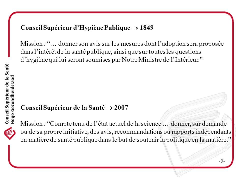 Conseil Supérieur dHygiène Publique 1849 Mission : … donner son avis sur les mesures dont ladoption sera proposée dans lintérêt de la santé publique,