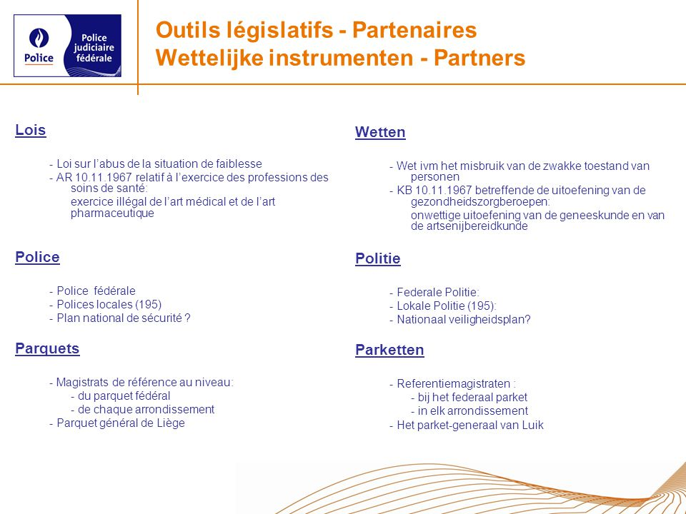 Outils législatifs - Partenaires Wettelijke instrumenten - Partners Lois - Loi sur labus de la situation de faiblesse - AR 10.11.1967 relatif à lexerc