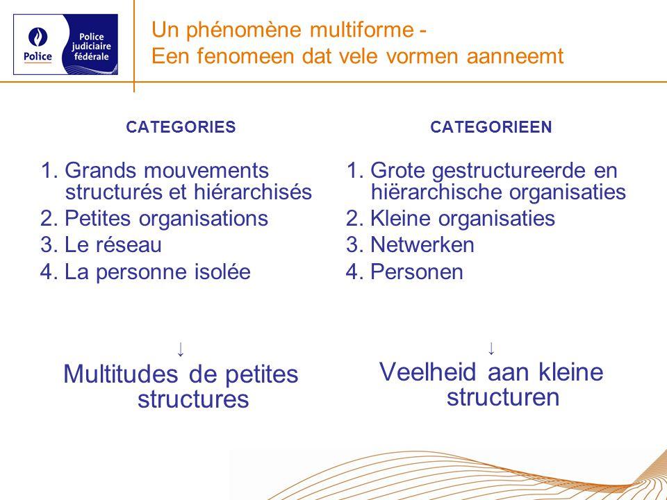 Un phénomène multiforme - Een fenomeen dat vele vormen aanneemt CATEGORIES 1. Grands mouvements structurés et hiérarchisés 2. Petites organisations 3.