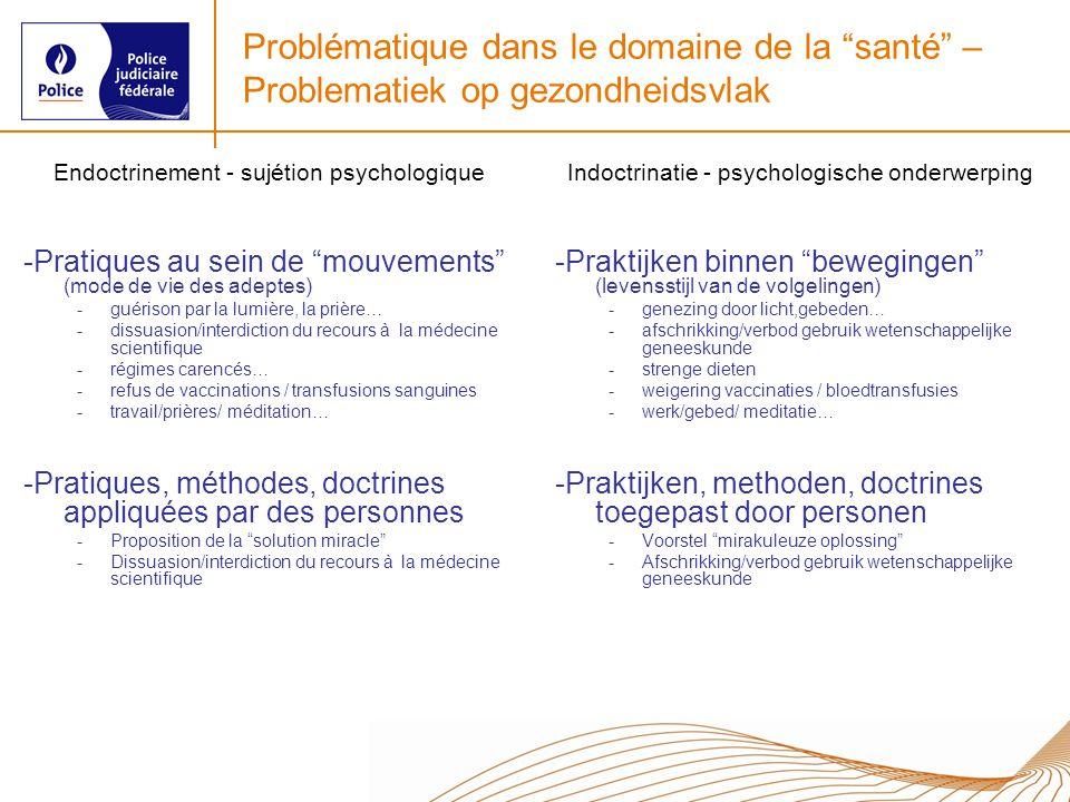 Problématique dans le domaine de la santé – Problematiek op gezondheidsvlak Endoctrinement - sujétion psychologique -Pratiques au sein de mouvements (