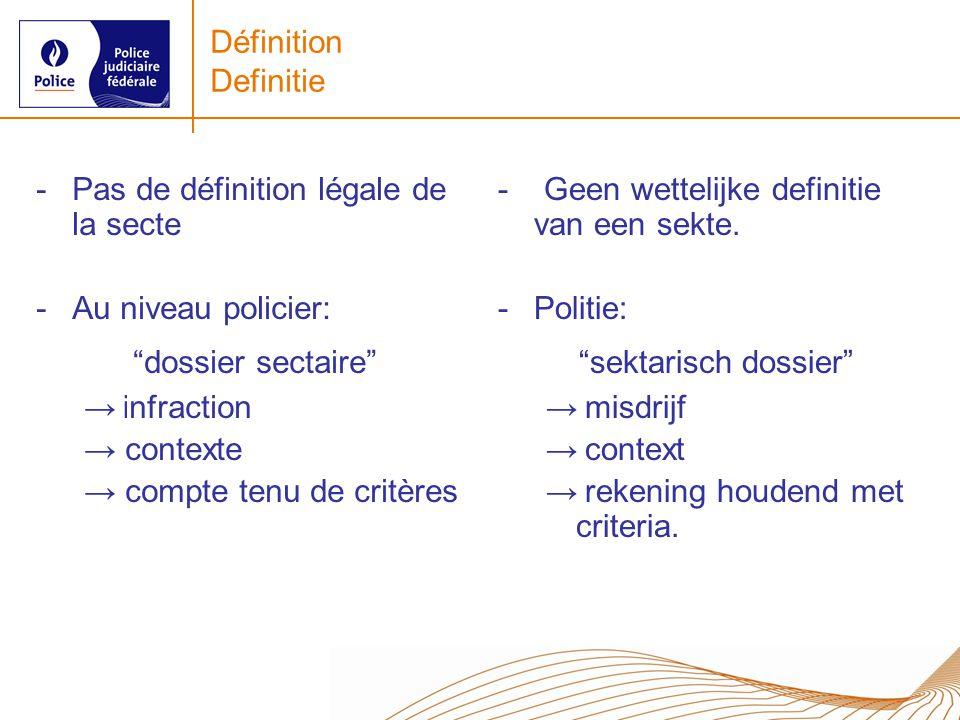 Définition Definitie -Pas de définition légale de la secte -Au niveau policier: dossier sectaire i nfraction contexte compte tenu de critères - Geen wettelijke definitie van een sekte.
