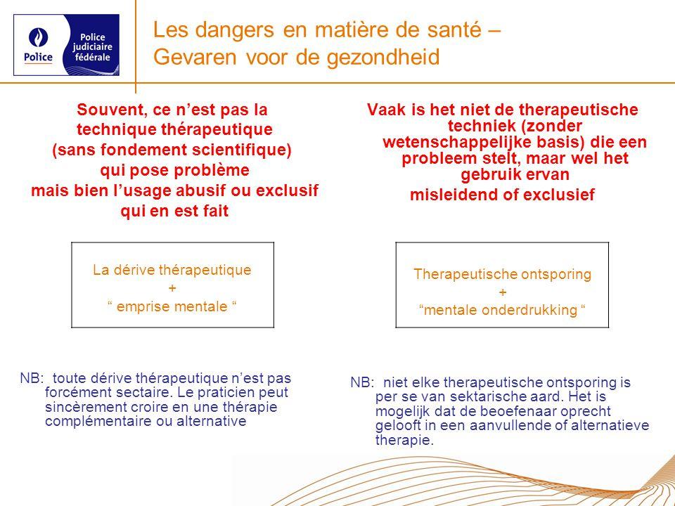 Les dangers en matière de santé – Gevaren voor de gezondheid Souvent, ce nest pas la technique thérapeutique (sans fondement scientifique) qui pose pr