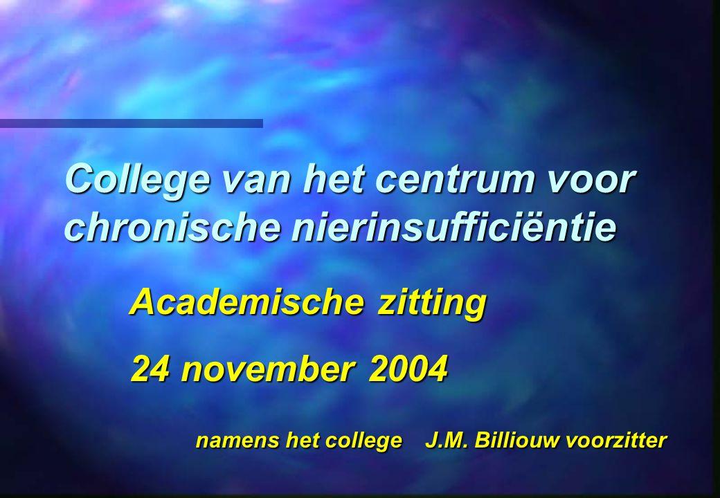 College van het centrum voor chronische nierinsufficiëntie Academische zitting 24 november 2004 namens het college J.M.