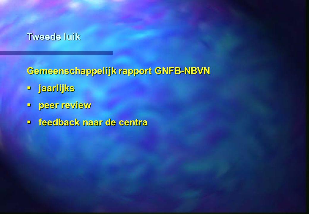 Tweede luik Gemeenschappelijk rapport GNFB-NBVN jaarlijks jaarlijks peer review peer review feedback naar de centra feedback naar de centra