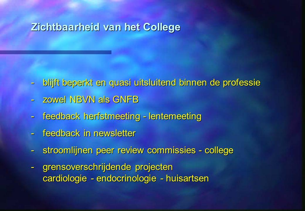 Zichtbaarheid van het College -blijft beperkt en quasi uitsluitend binnen de professie -zowel NBVN als GNFB -feedback herfstmeeting - lentemeeting -feedback in newsletter -stroomlijnen peer review commissies - college -grensoverschrijdende projecten cardiologie - endocrinologie - huisartsen