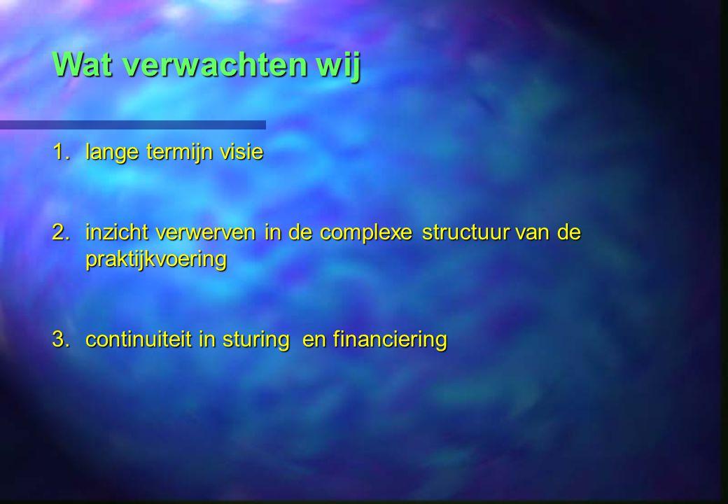 Wat verwachten wij 1.lange termijn visie 2.inzicht verwerven in de complexe structuur van de praktijkvoering 3.continuiteit in sturing en financiering