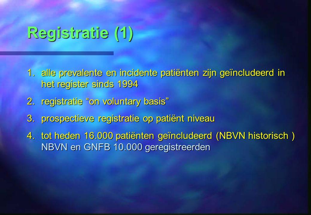 Registratie (1) 1.alle prevalente en incidente patiënten zijn geïncludeerd in het register sinds 1994 2.