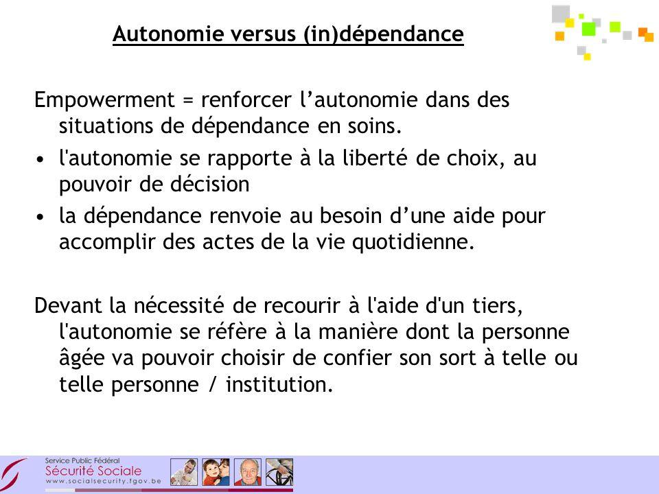Autonomie versus (in)dépendance Empowerment = renforcer lautonomie dans des situations de dépendance en soins.