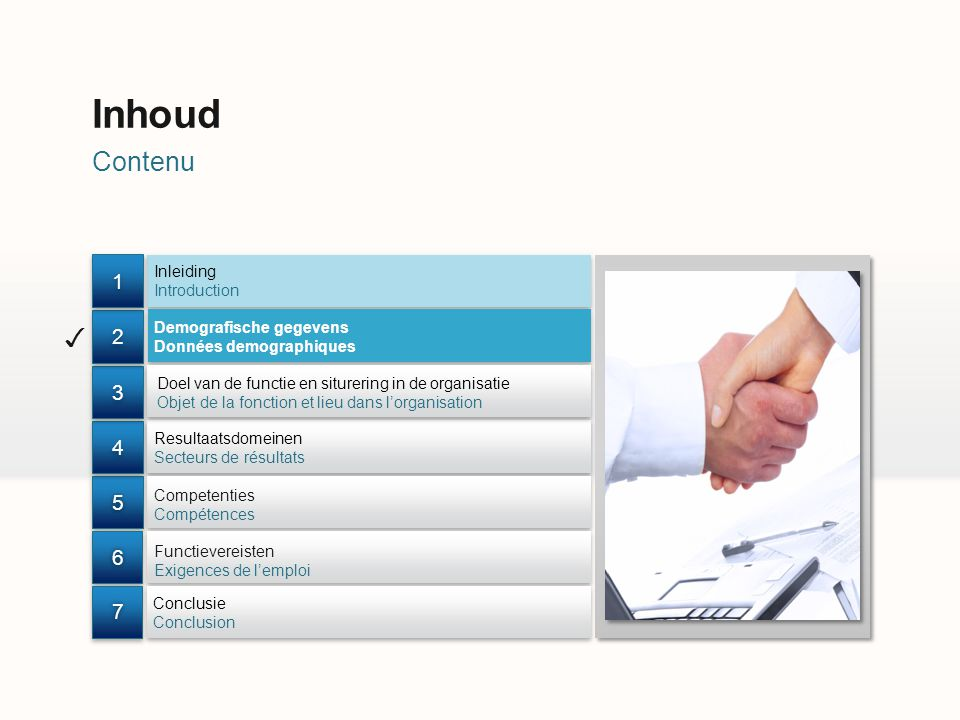 Contenu Inhoud Inleiding Introduction Doel van de functie en siturering in de organisatie Objet de la fonction et lieu dans lorganisation Competenties