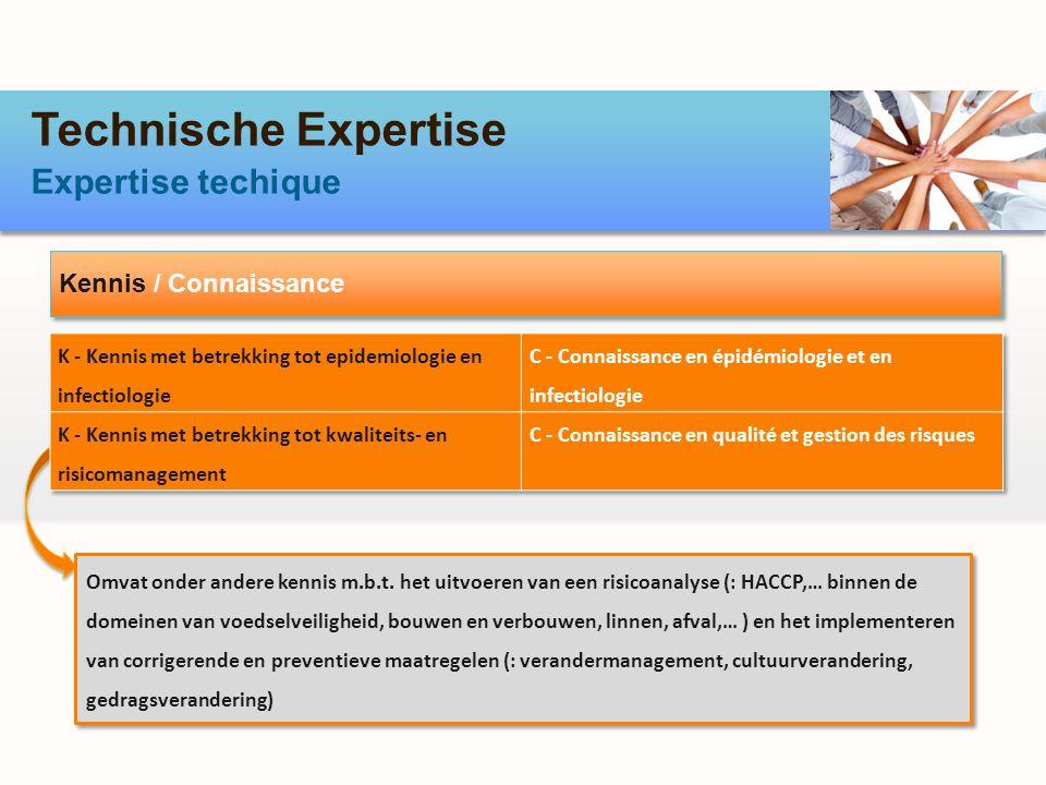 Technische Expertise Expertise techique Kennis / Connaissance Omvat onder andere kennis m.b.t.