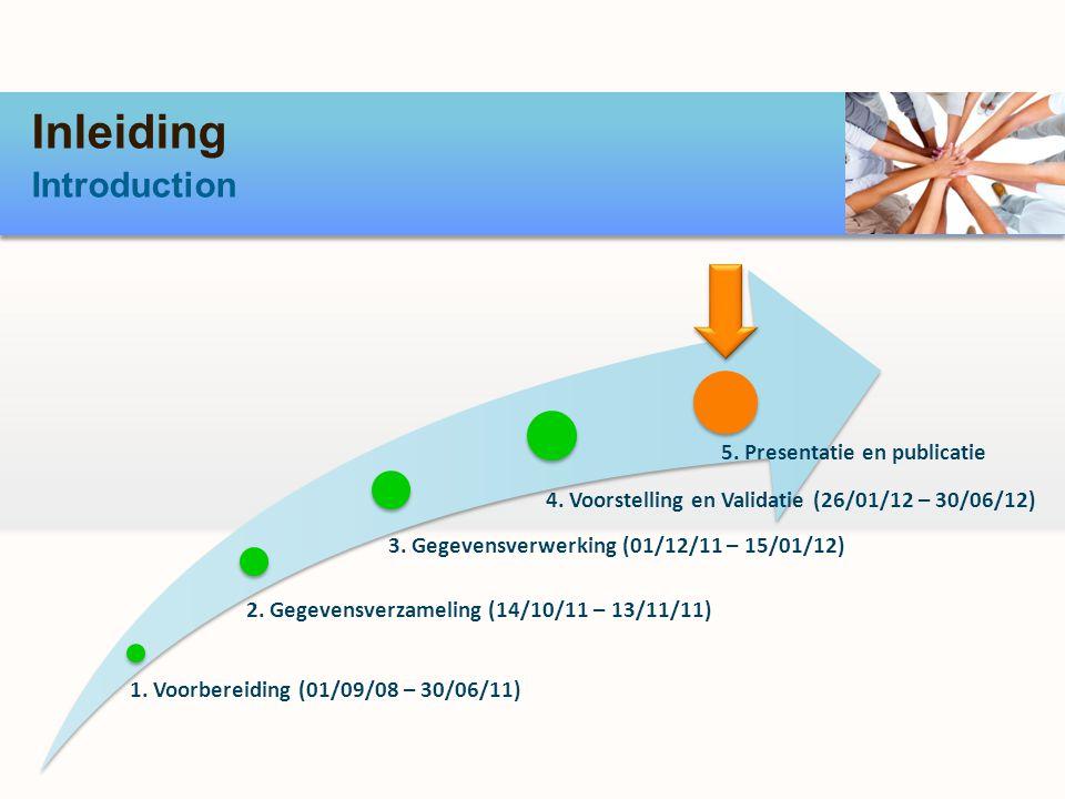 Inleiding Introduction 1. Voorbereiding (01/09/08 – 30/06/11) 2. Gegevensverzameling (14/10/11 – 13/11/11) 3. Gegevensverwerking (01/12/11 – 15/01/12)