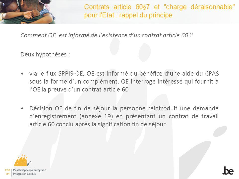 Contrats article 60§7 et charge déraisonnable pour l Etat : rappel du principe Comment OE est informé de lexistence dun contrat article 60 .