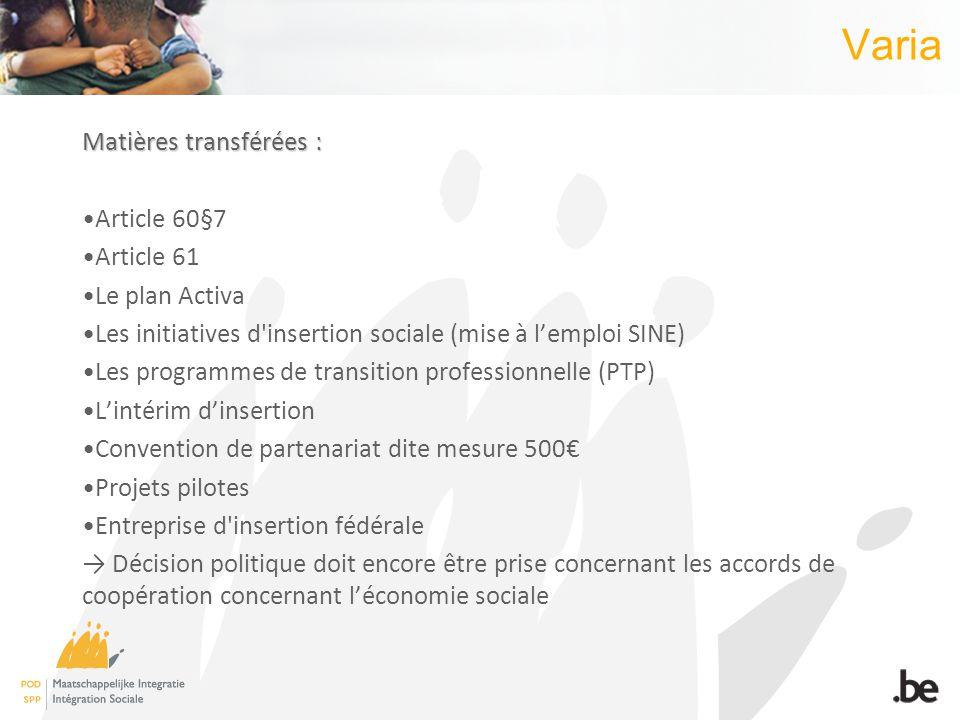 Varia Matières transférées : Article 60§7 Article 61 Le plan Activa Les initiatives d'insertion sociale (mise à lemploi SINE) Les programmes de transi