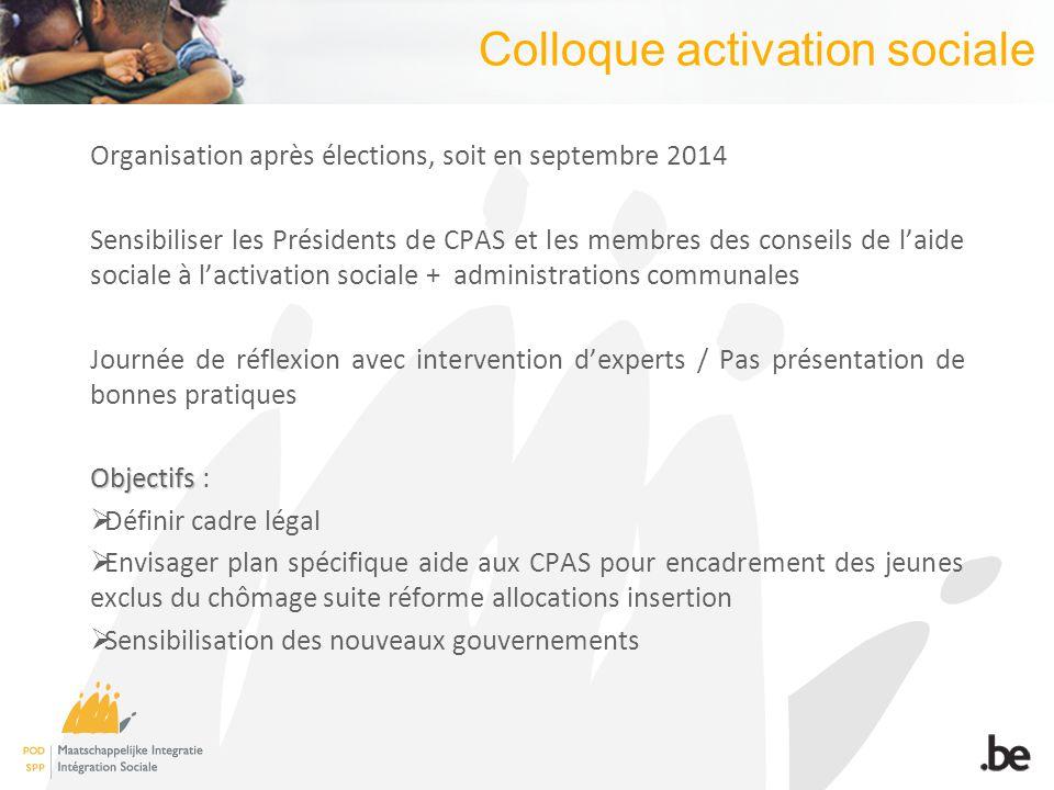 Colloque activation sociale Organisation après élections, soit en septembre 2014 Sensibiliser les Présidents de CPAS et les membres des conseils de la
