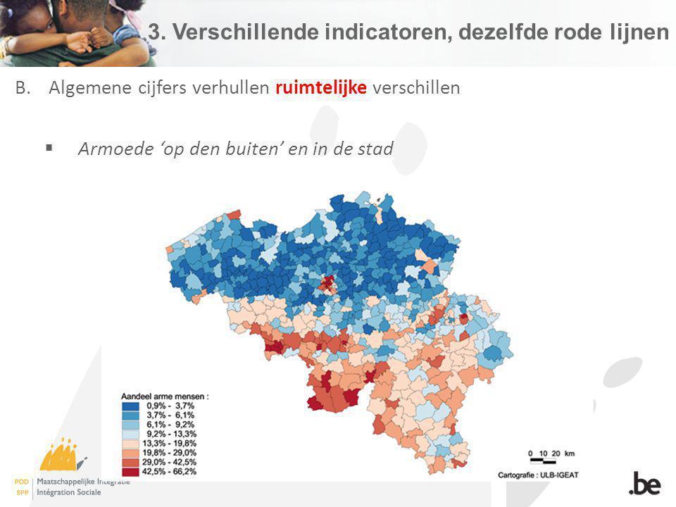 3. Verschillende indicatoren, dezelfde rode lijnen B.Algemene cijfers verhullen ruimtelijke verschillen Armoede op den buiten en in de stad