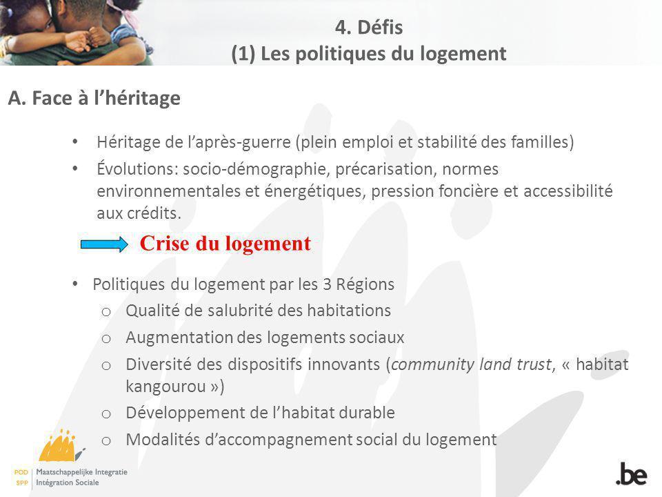 A. Face à lhéritage Héritage de laprès-guerre (plein emploi et stabilité des familles) Évolutions: socio-démographie, précarisation, normes environnem