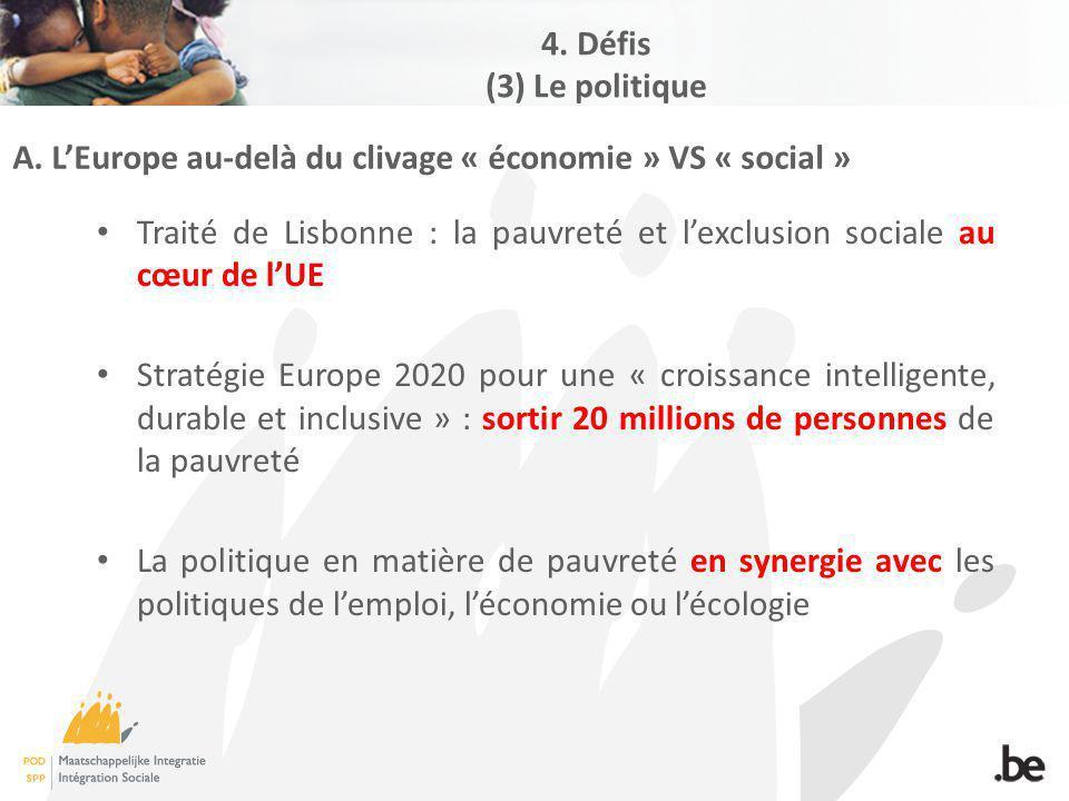 A. LEurope au-delà du clivage « économie » VS « social » Traité de Lisbonne : la pauvreté et lexclusion sociale au cœur de lUE Stratégie Europe 2020 p