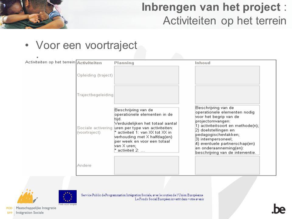 Inbrengen van het project : Activiteiten op het terrein Voor een voortraject : Service Public de Programmation Int é gration Sociale, avec le soutien