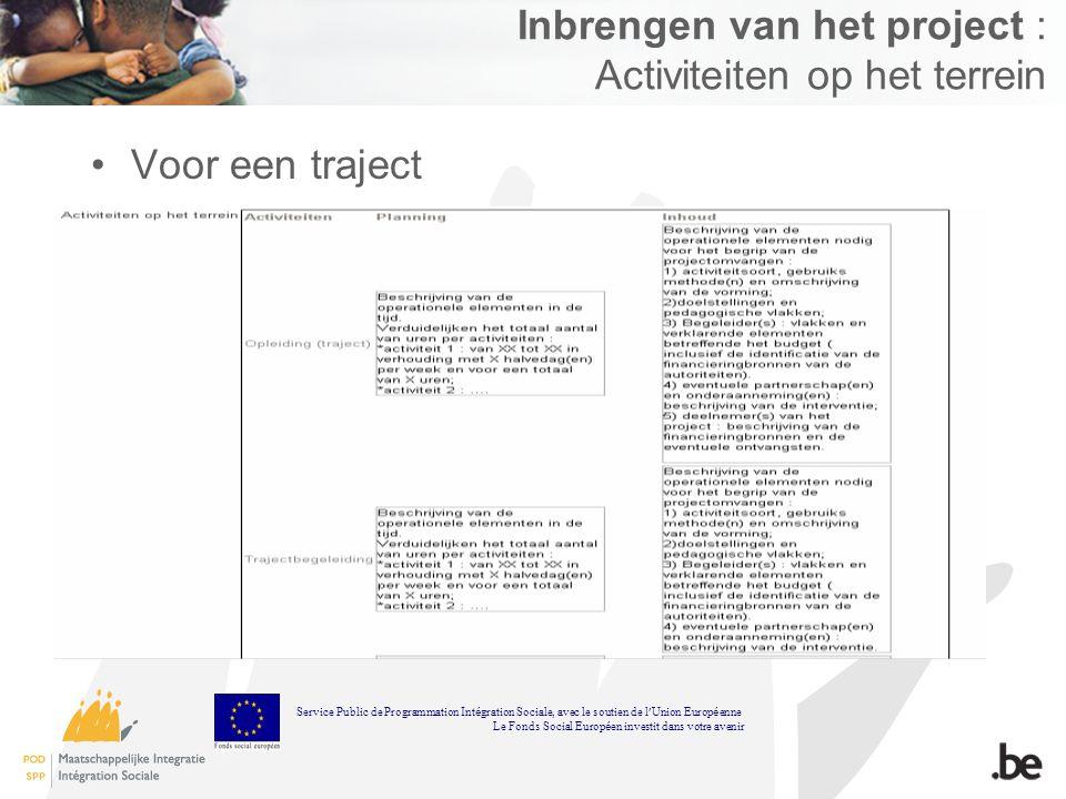 Inbrengen van het project : Activiteiten op het terrein Voor een traject Service Public de Programmation Int é gration Sociale, avec le soutien de l U