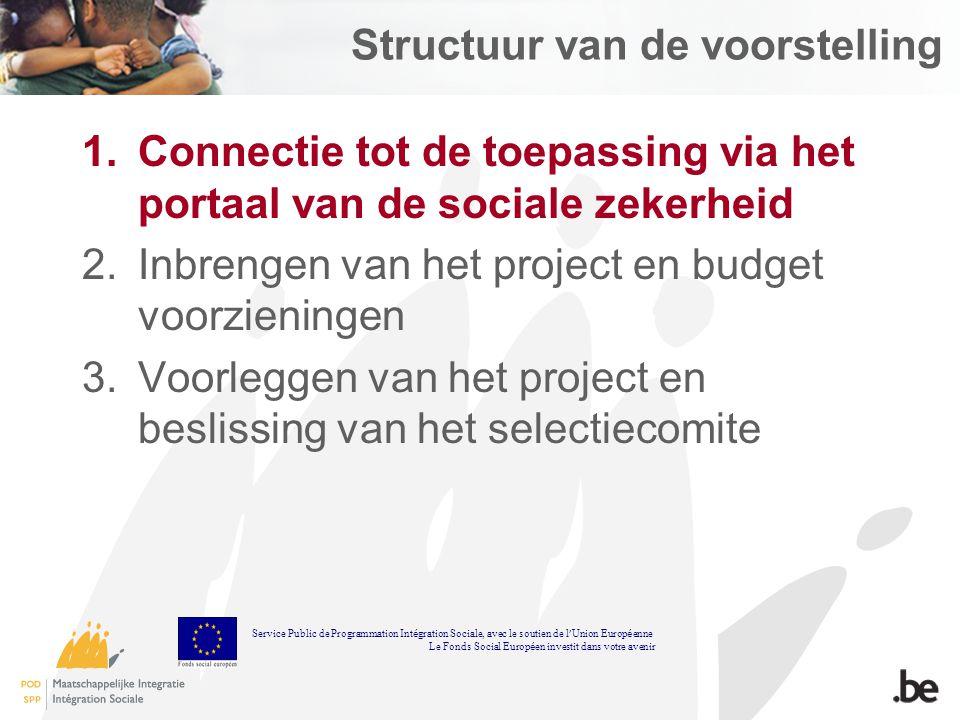 Structuur van de voorstelling 1.Connectie tot de toepassing via het portaal van de sociale zekerheid 2.Inbrengen van het project en budget voorziening