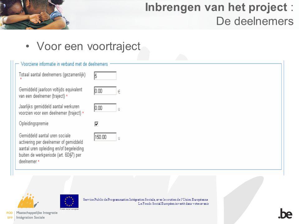 Inbrengen van het project : De deelnemers Voor een voortraject Service Public de Programmation Int é gration Sociale, avec le soutien de l Union Europ