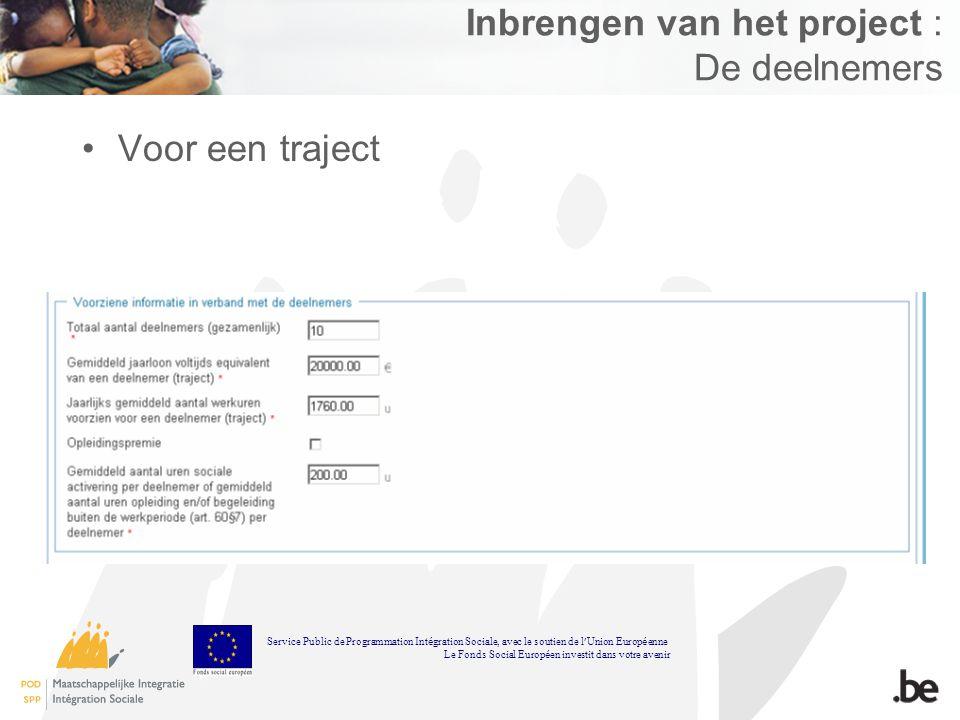 Inbrengen van het project : De deelnemers Voor een traject Service Public de Programmation Int é gration Sociale, avec le soutien de l Union Europ é e