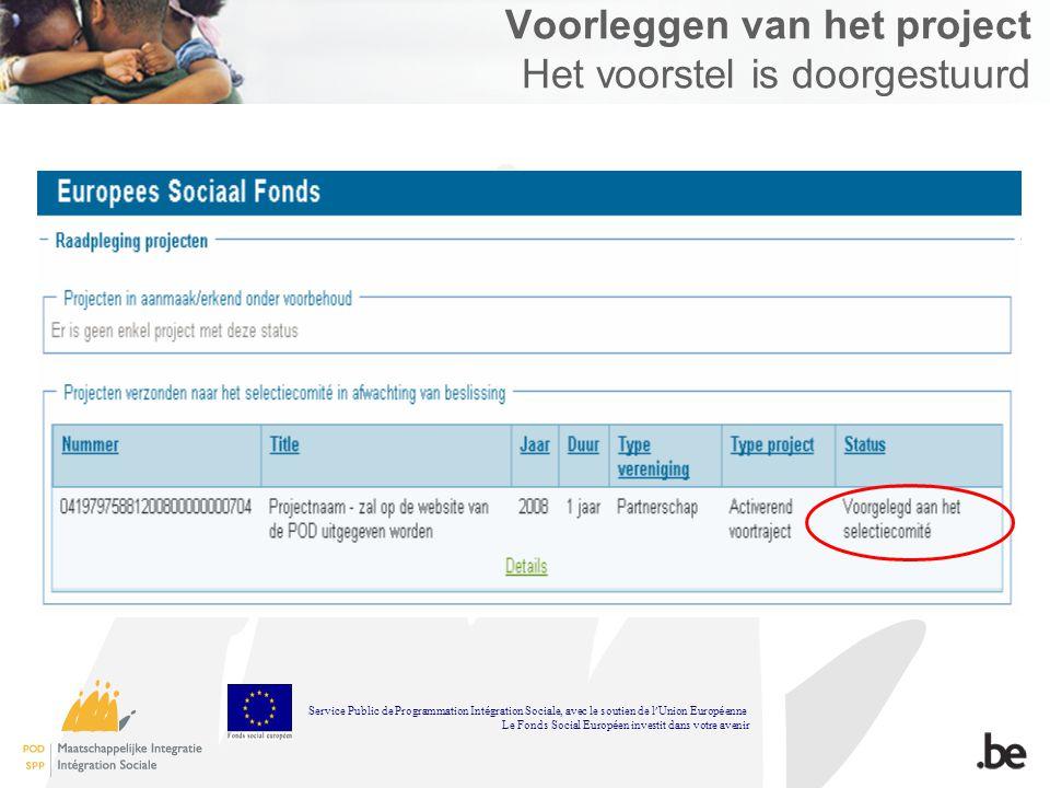 Voorleggen van het project Het voorstel is doorgestuurd Service Public de Programmation Int é gration Sociale, avec le soutien de l Union Europ é enne