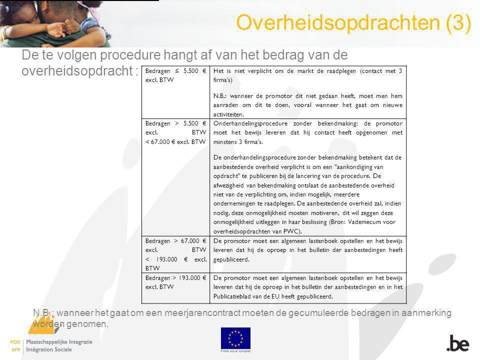 Overheidsopdrachten (3) Bedragen 5.500 excl.