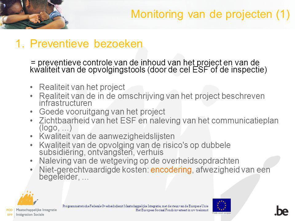 Monitoring van de projecten (1) 1.Preventieve bezoeken = preventieve controle van de inhoud van het project en van de kwaliteit van de opvolgingstools (door de cel ESF of de inspectie) Realiteit van het project Realiteit van de in de omschrijving van het project beschreven infrastructuren Goede vooruitgang van het project Zichtbaarheid van het ESF en naleving van het communicatieplan (logo,...) Kwaliteit van de aanwezigheidslijsten Kwaliteit van de opvolging van de risico s op dubbele subsidiëring, ontvangsten, verhuis Naleving van de wetgeving op de overheidsopdrachten Niet-gerechtvaardigde kosten: encodering, afwezigheid van een begeleider,...