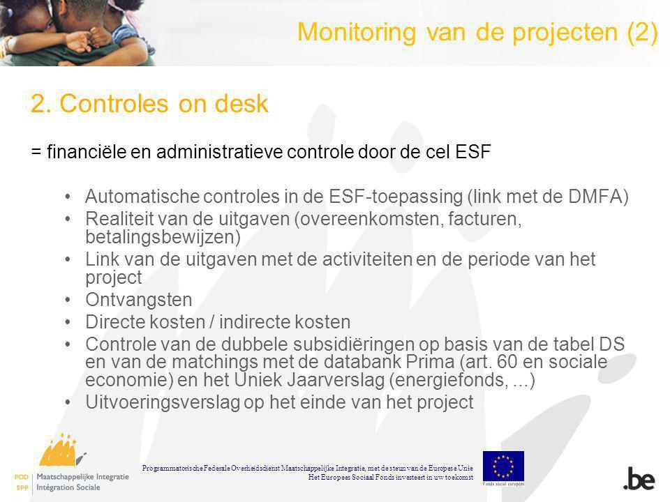 Tabel begeleiders (3) Demo 1 : Een begeleider A heeft een totale loonkost van 1200 : 500 voor het ESF-project en 700 voor de taken buiten ESF.