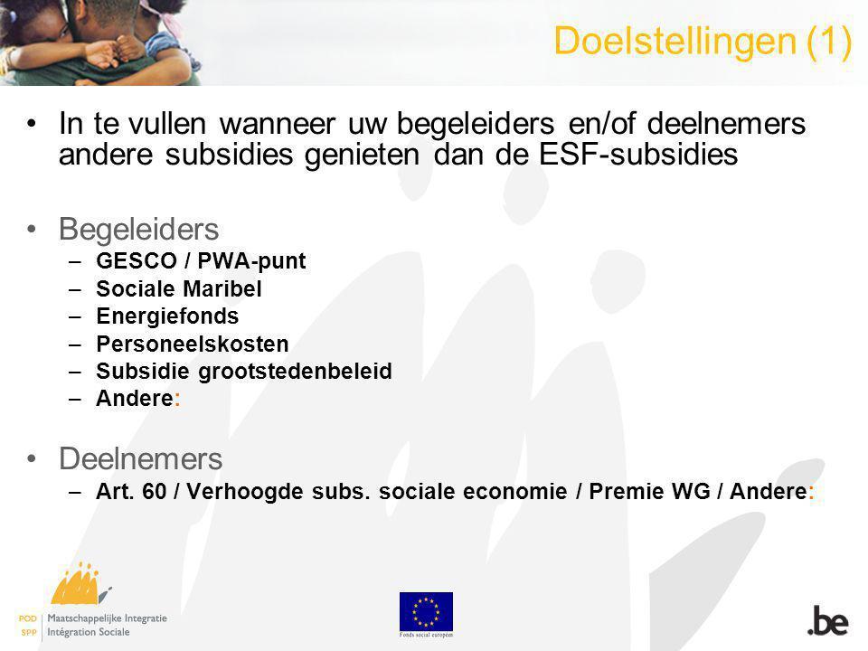 Doelstellingen (2) De promotor helpen met de: -de verdeling van de subsidies volgens hun oorsprong om de risico s op dubbele subsidiëring op te sporen -de berekening van het minimumbedrag te vermelden in publiek gedeelte (interessant voor een begeleider die deeltijds tewerkgesteld is aan een ESF-project) => optimalisering van de ESF-middelen -De dossierbeheerder helpen met: -de zorg voor de kwaliteit van de opvolging van de risico s op dubbele subsidiëring tijdens de preventieve bezoeken -De controle van de dubbele subsidiëringen tijdens de controles ter plaatse en/of controles on desk