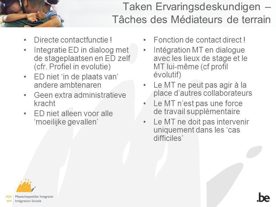 Taken Ervaringsdeskundigen – Tâches des Médiateurs de terrain Directe contactfunctie .
