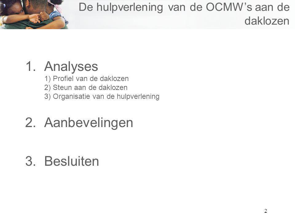 2 De hulpverlening van de OCMWs aan de daklozen 1.Analyses 1) Profiel van de daklozen 2) Steun aan de daklozen 3) Organisatie van de hulpverlening 2.A