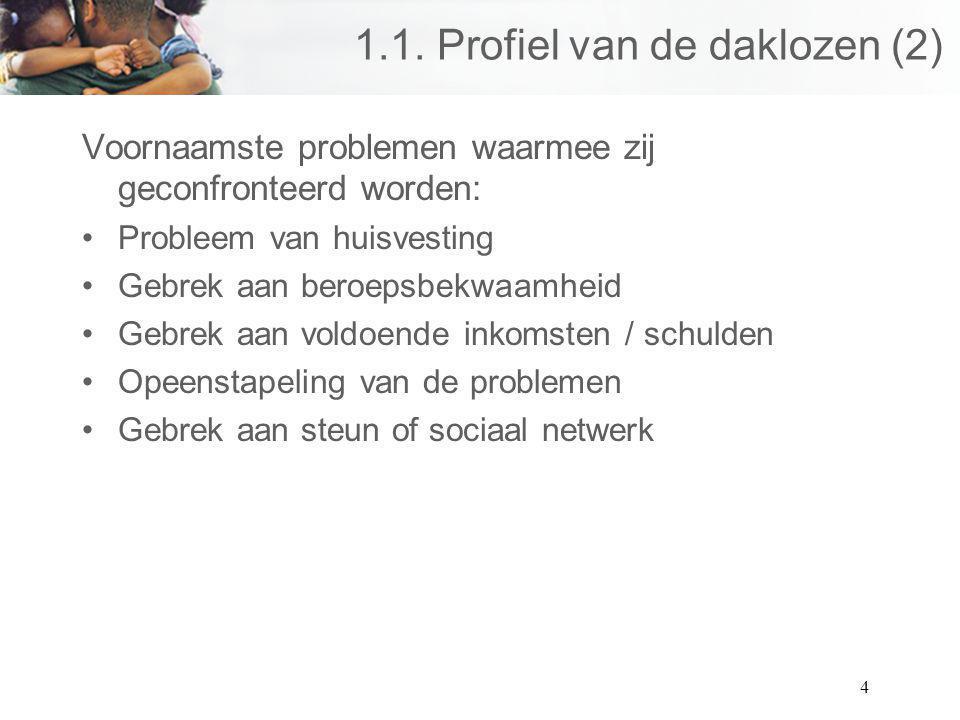 4 1.1. Profiel van de daklozen (2) Voornaamste problemen waarmee zij geconfronteerd worden: Probleem van huisvesting Gebrek aan beroepsbekwaamheid Geb