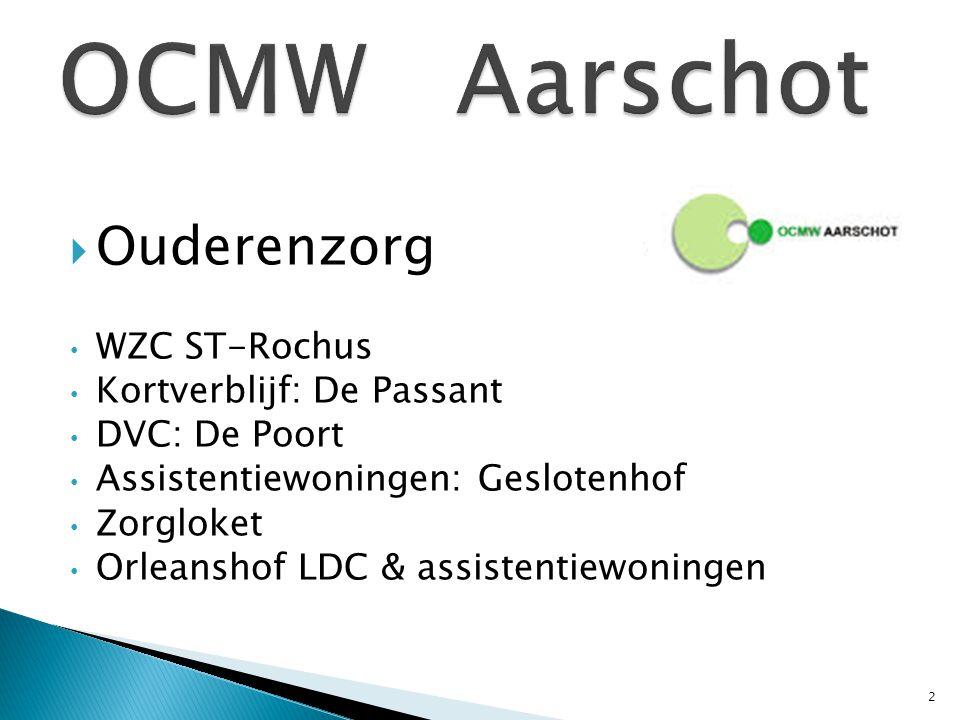  Ouderenzorg WZC ST-Rochus Kortverblijf: De Passant DVC: De Poort Assistentiewoningen: Geslotenhof Zorgloket Orleanshof LDC & assistentiewoningen 2