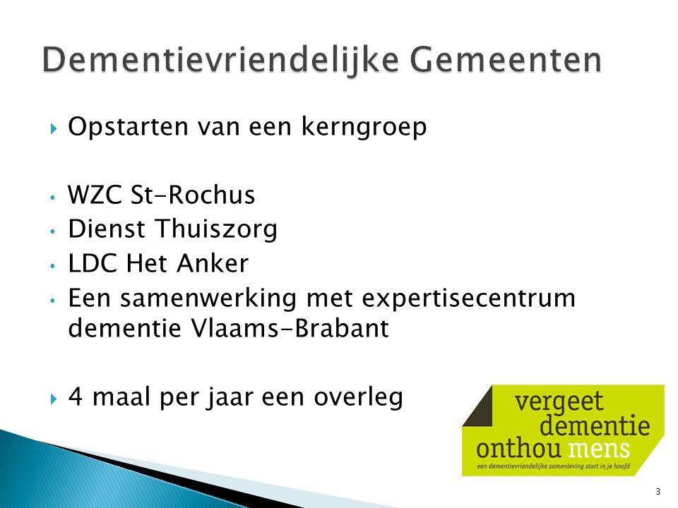  Opstarten van een kerngroep WZC St-Rochus Dienst Thuiszorg LDC Het Anker Een samenwerking met expertisecentrum dementie Vlaams-Brabant  4 maal per jaar een overleg 3