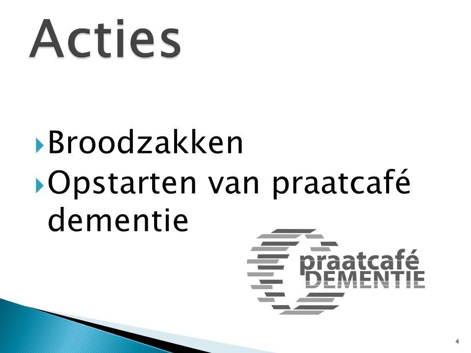 Start in 2012 tot nu 2015 Omgaan met personen met dementie Op bezoek Draaglast draagkracht Juridische aspecten Veranderde relaties Het WZC … Rechten en plichten Het maaltijdgebeuren Fixatie … 5