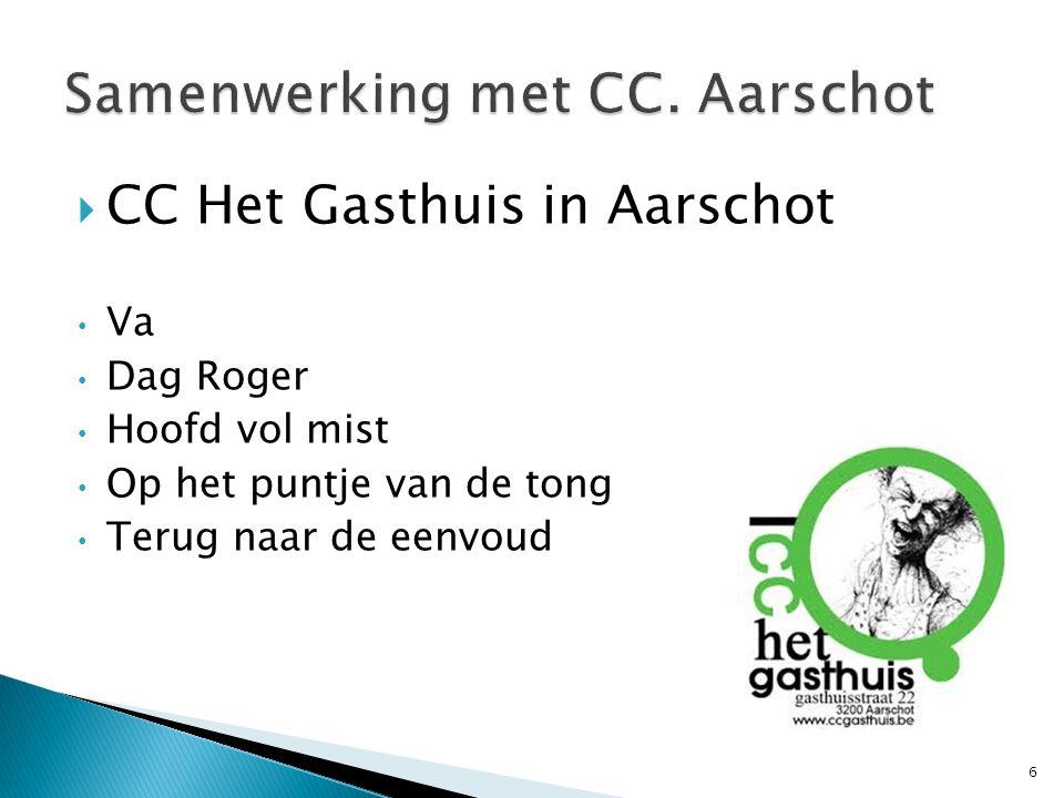  CC Het Gasthuis in Aarschot Va Dag Roger Hoofd vol mist Op het puntje van de tong Terug naar de eenvoud 6