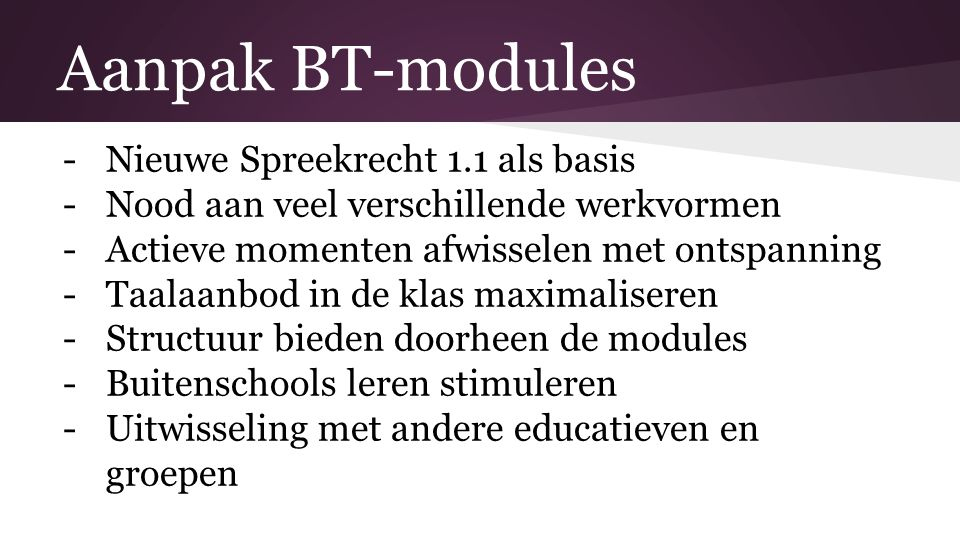 BT-modules: visueel werken