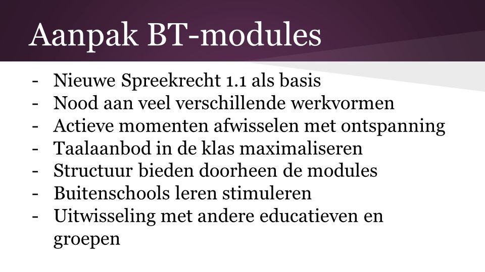 Aanpak BT-modules -Nieuwe Spreekrecht 1.1 als basis -Nood aan veel verschillende werkvormen -Actieve momenten afwisselen met ontspanning -Taalaanbod i