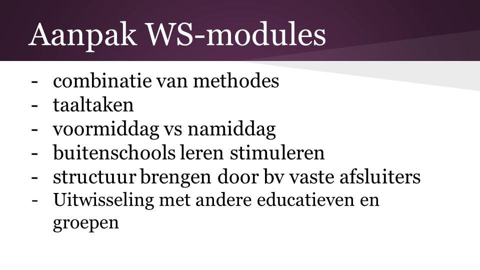 Aanpak WS-modules -combinatie van methodes -taaltaken -voormiddag vs namiddag -buitenschools leren stimuleren -structuur brengen door bv vaste afsluiters -Uitwisseling met andere educatieven en groepen