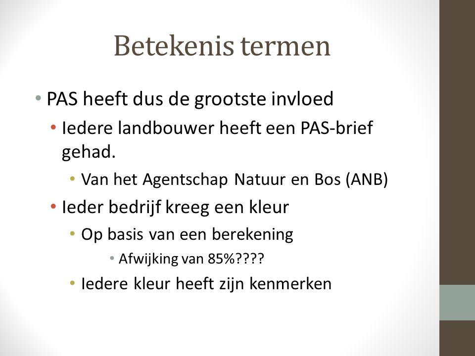 Betekenis termen PAS heeft dus de grootste invloed Iedere landbouwer heeft een PAS-brief gehad.