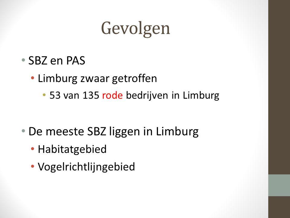 Gevolgen SBZ en PAS Limburg zwaar getroffen 53 van 135 rode bedrijven in Limburg De meeste SBZ liggen in Limburg Habitatgebied Vogelrichtlijngebied