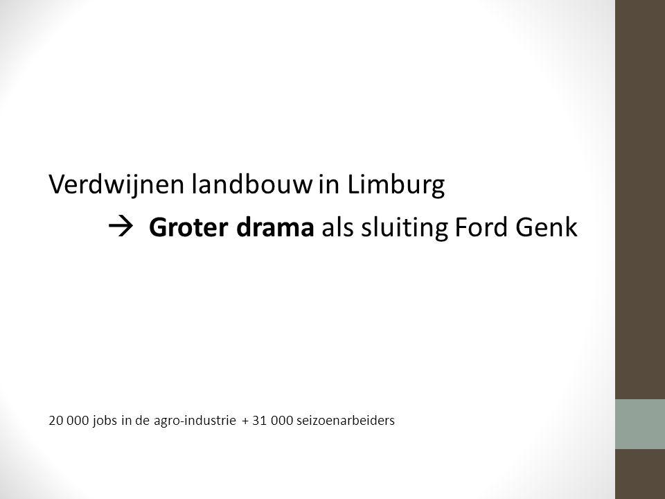 Verdwijnen landbouw in Limburg  Groter drama als sluiting Ford Genk 20 000 jobs in de agro-industrie + 31 000 seizoenarbeiders