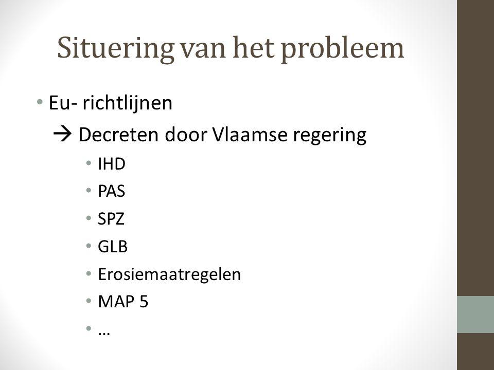 Situering van het probleem Eu- richtlijnen  Decreten door Vlaamse regering IHD PAS SPZ GLB Erosiemaatregelen MAP 5 …