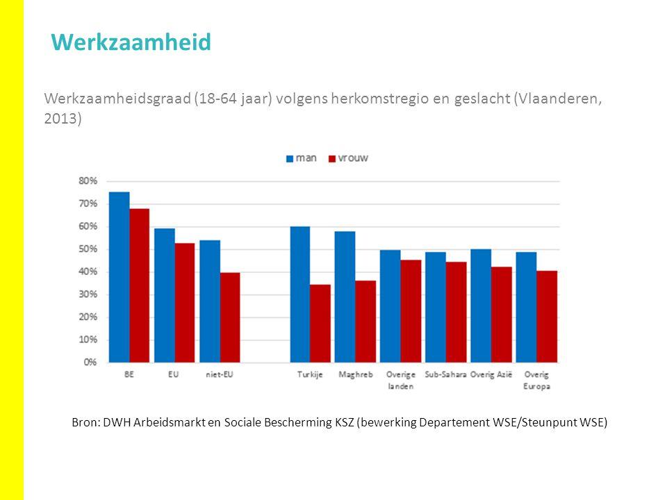 Werkzaamheidsgraad (18-64 jaar) volgens herkomstregio en geslacht (Vlaanderen, 2013) Werkzaamheid Bron: DWH Arbeidsmarkt en Sociale Bescherming KSZ (bewerking Departement WSE/Steunpunt WSE)