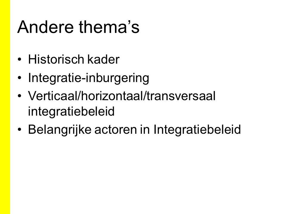 Andere thema's Historisch kader Integratie-inburgering Verticaal/horizontaal/transversaal integratiebeleid Belangrijke actoren in Integratiebeleid
