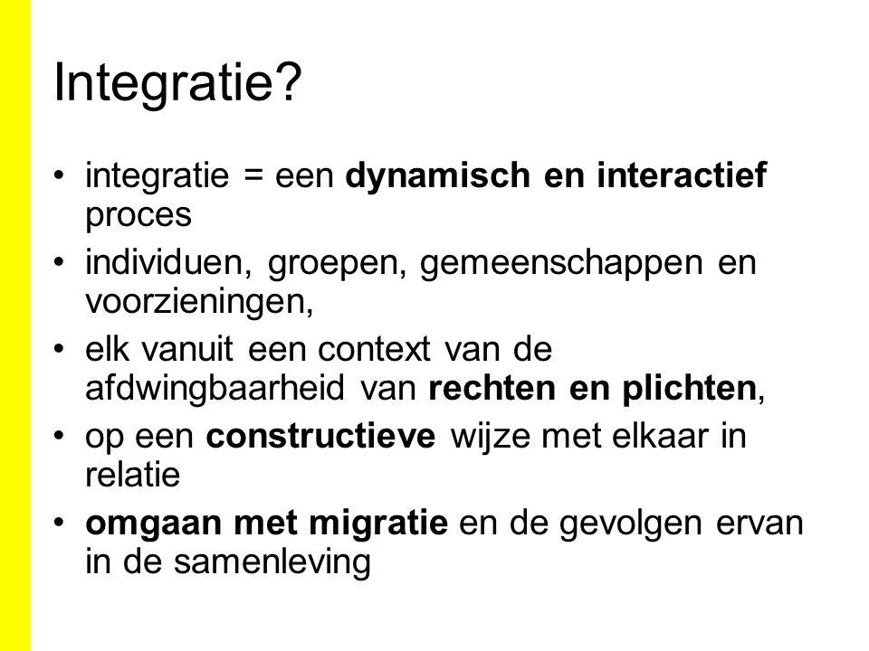 integratie = een dynamisch en interactief proces individuen, groepen, gemeenschappen en voorzieningen, elk vanuit een context van de afdwingbaarheid van rechten en plichten, op een constructieve wijze met elkaar in relatie omgaan met migratie en de gevolgen ervan in de samenleving