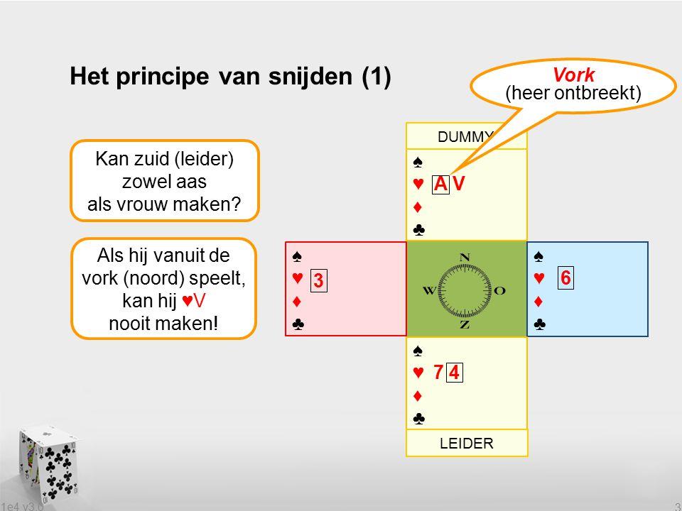 1e4 v3.0 3 Het principe van snijden (1) Kan zuid (leider) zowel aas als vrouw maken? Als hij vanuit de vork (noord) speelt, kan hij ♥V nooit maken! ♠♥