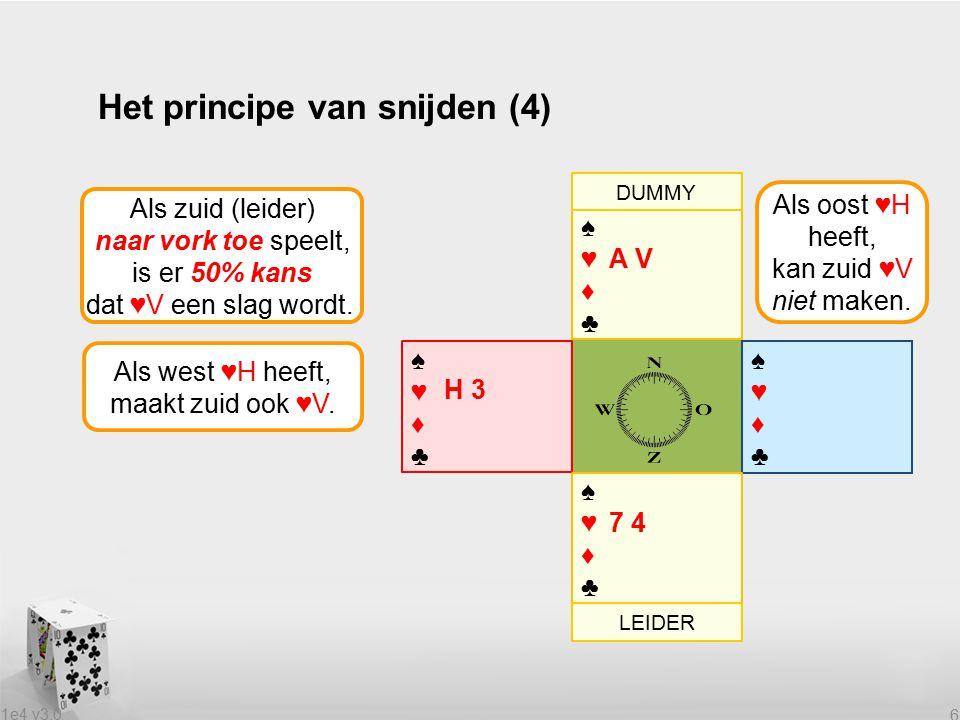 1e4 v3.0 6 Het principe van snijden (4) Als zuid (leider) naar vork toe speelt, is er 50% kans dat ♥V een slag wordt.